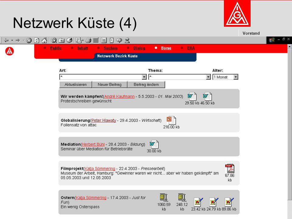 Kommunikation und Kooperation im Internetdieter.wesp@igmetall.deMai 2003dieter.wesp@igmetall.de 10 Vorstand 10 Netzwerk Küste (4)