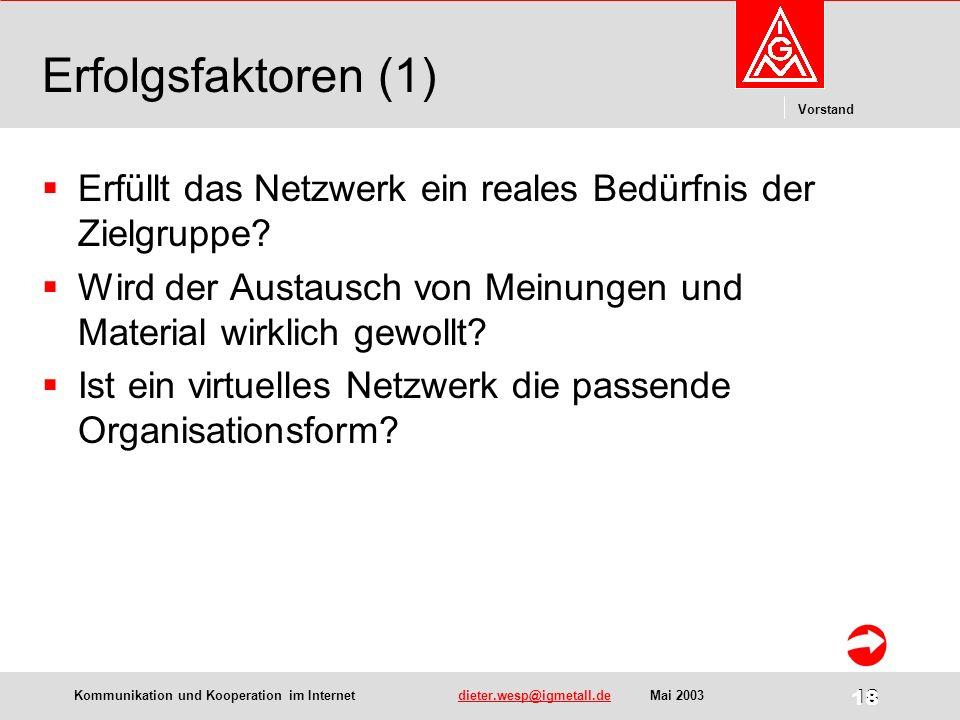 Kommunikation und Kooperation im Internetdieter.wesp@igmetall.deMai 2003dieter.wesp@igmetall.de 18 Vorstand 18 Erfolgsfaktoren (1) Erfüllt das Netzwerk ein reales Bedürfnis der Zielgruppe.