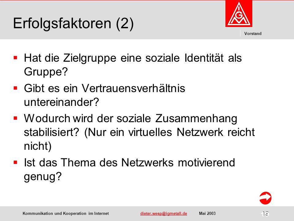 Kommunikation und Kooperation im Internetdieter.wesp@igmetall.deMai 2003dieter.wesp@igmetall.de 19 Vorstand 19 Erfolgsfaktoren (2) Hat die Zielgruppe eine soziale Identität als Gruppe.