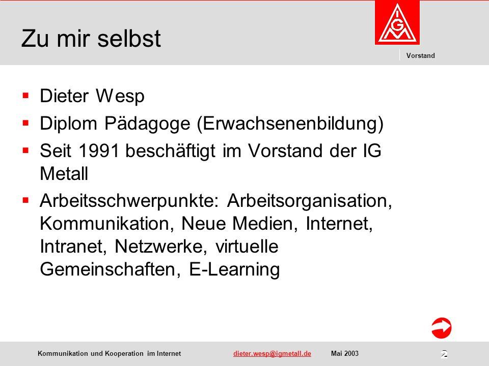 Kommunikation und Kooperation im Internetdieter.wesp@igmetall.deMai 2003dieter.wesp@igmetall.de 13 Vorstand 13 Netzwerk Motorradfahrer