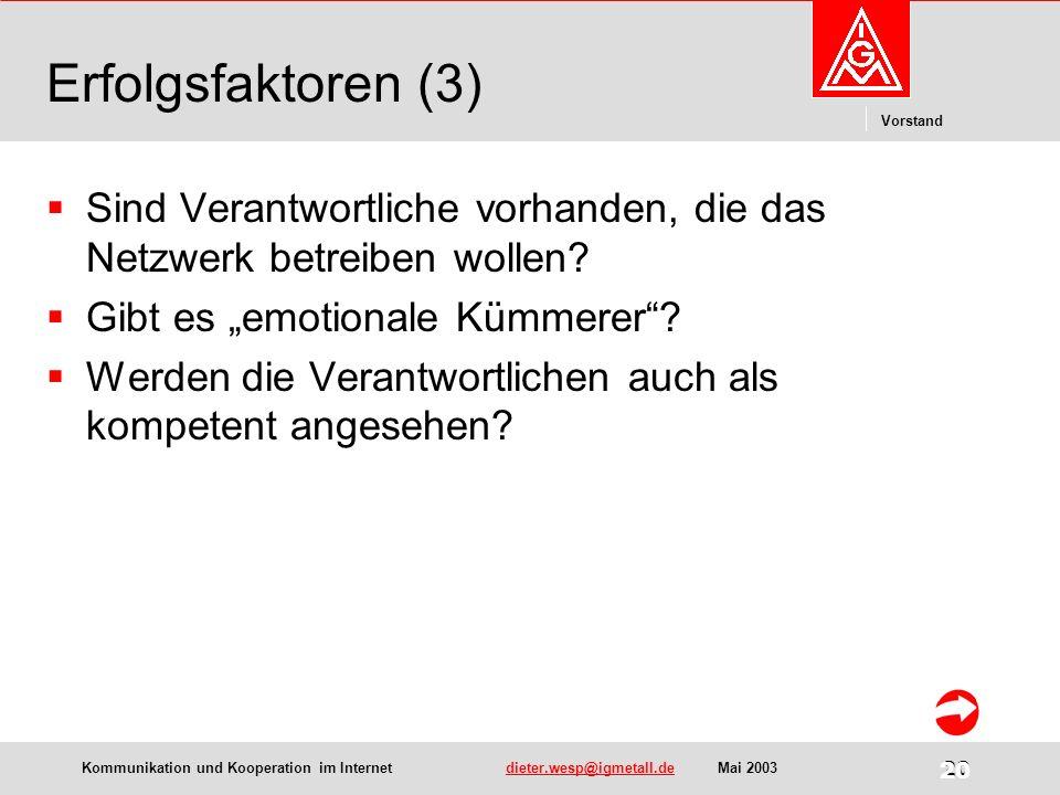Kommunikation und Kooperation im Internetdieter.wesp@igmetall.deMai 2003dieter.wesp@igmetall.de 20 Vorstand 20 Erfolgsfaktoren (3) Sind Verantwortliche vorhanden, die das Netzwerk betreiben wollen.