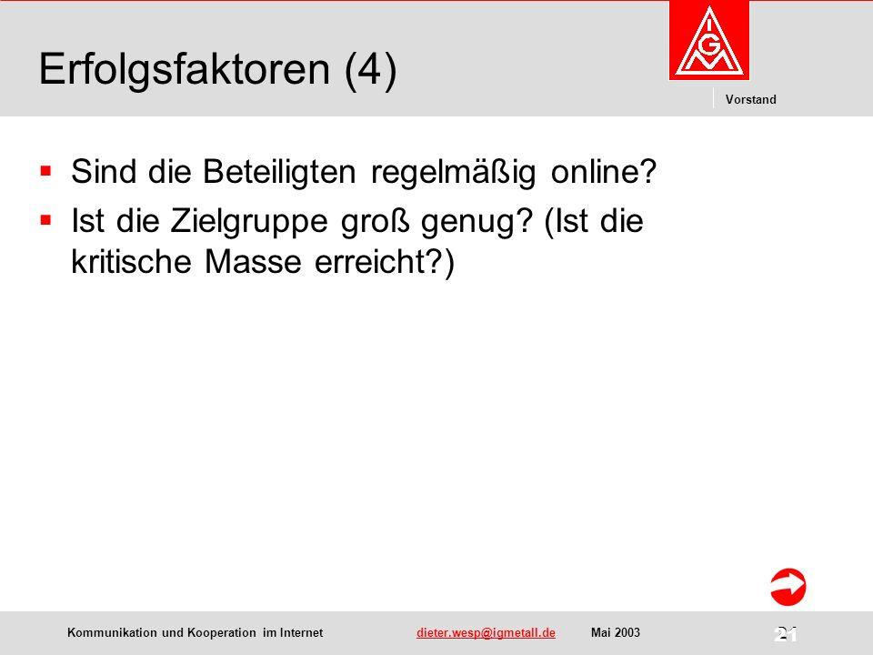 Kommunikation und Kooperation im Internetdieter.wesp@igmetall.deMai 2003dieter.wesp@igmetall.de 21 Vorstand 21 Erfolgsfaktoren (4) Sind die Beteiligten regelmäßig online.