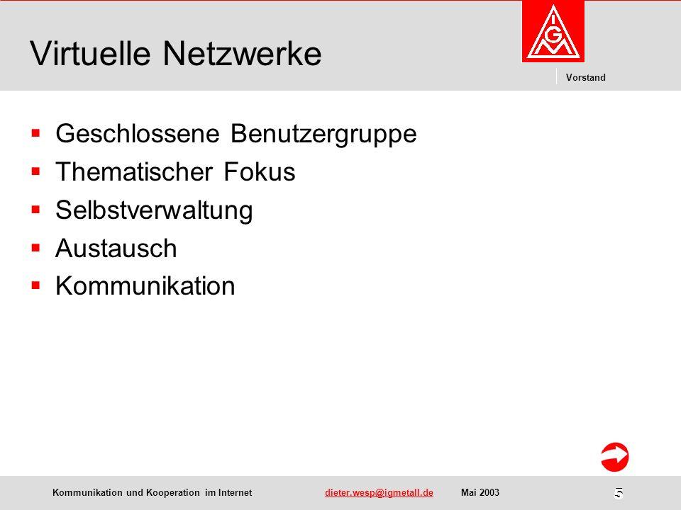 Kommunikation und Kooperation im Internetdieter.wesp@igmetall.deMai 2003dieter.wesp@igmetall.de 6 Vorstand 6 Einige Beispiele