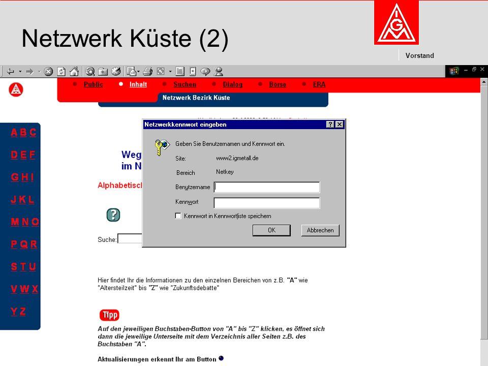 Kommunikation und Kooperation im Internetdieter.wesp@igmetall.deMai 2003dieter.wesp@igmetall.de 8 Vorstand 8 Netzwerk Küste (2)