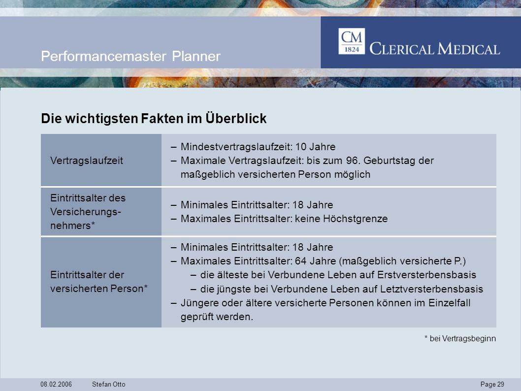 Page 29 08.02.2006Stefan Otto Performancemaster Planner Vertragslaufzeit –Mindestvertragslaufzeit: 10 Jahre –Maximale Vertragslaufzeit: bis zum 96.