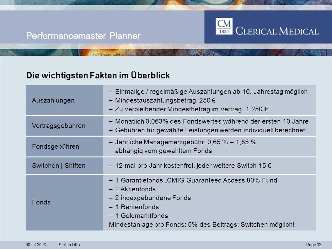 Page 32 08.02.2006Stefan Otto Performancemaster Planner Auszahlungen –Einmalige / regelmäßige Auszahlungen ab 10.