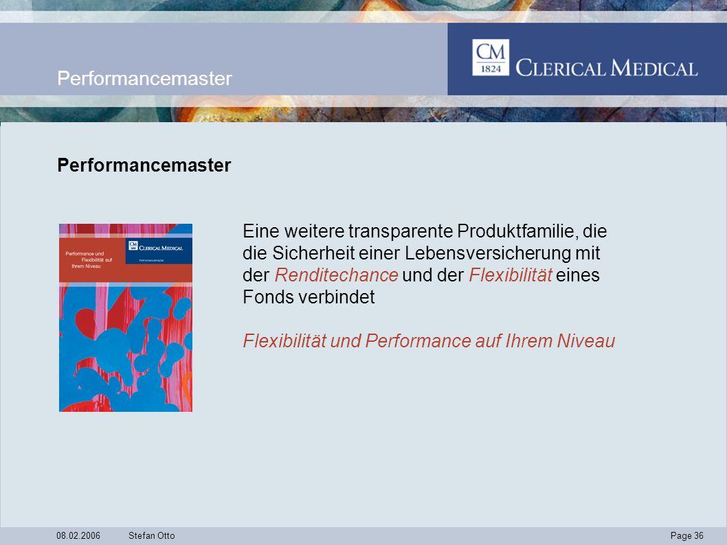 Page 36 08.02.2006Stefan Otto Performancemaster Eine weitere transparente Produktfamilie, die die Sicherheit einer Lebensversicherung mit der Renditechance und der Flexibilität eines Fonds verbindet Flexibilität und Performance auf Ihrem Niveau