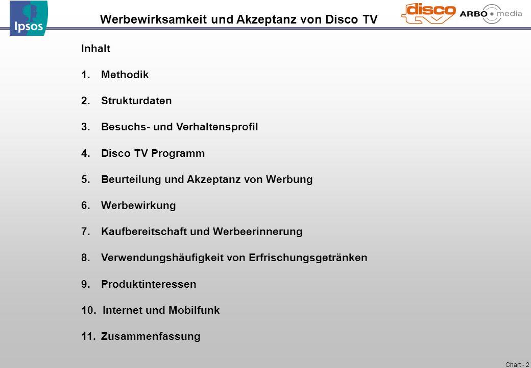 Chart - 2 Werbewirksamkeit und Akzeptanz von Disco TV Inhalt 1. Methodik 2. Strukturdaten 3. Besuchs- und Verhaltensprofil 4. Disco TV Programm 5. Beu