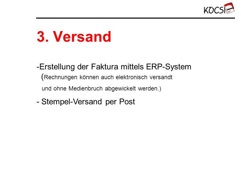 3. Versand -Erstellung der Faktura mittels ERP-System ( Rechnungen können auch elektronisch versandt und ohne Medienbruch abgewickelt werden.) - Stemp