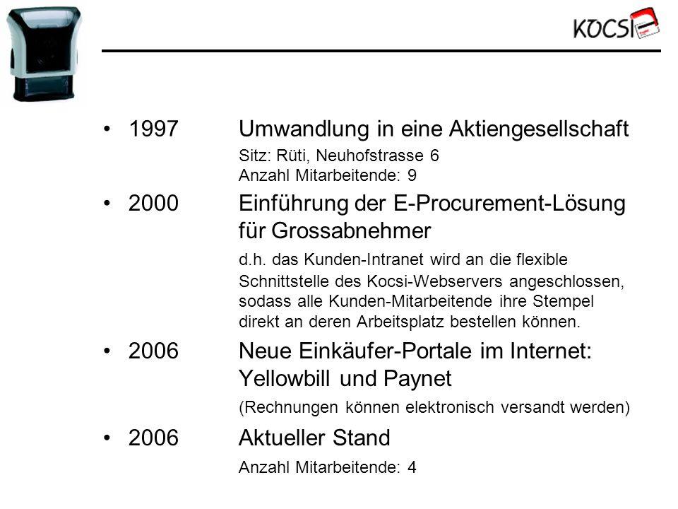 2000Einführung der E-Procurement-Lösung für Grossabnehmer d.h. das Kunden-Intranet wird an die flexible Schnittstelle des Kocsi-Webservers angeschloss