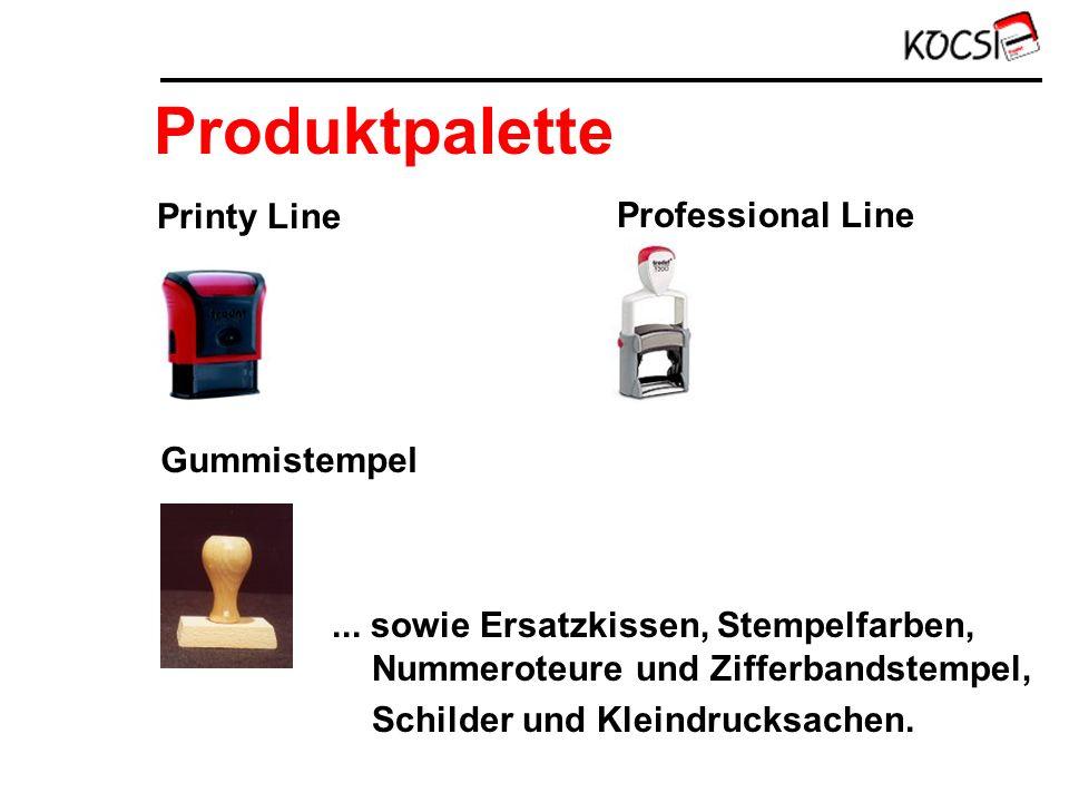 Produktpalette Printy Line Professional Line Gummistempel... sowie Ersatzkissen, Stempelfarben, Nummeroteure und Zifferbandstempel, Schilder und Klein