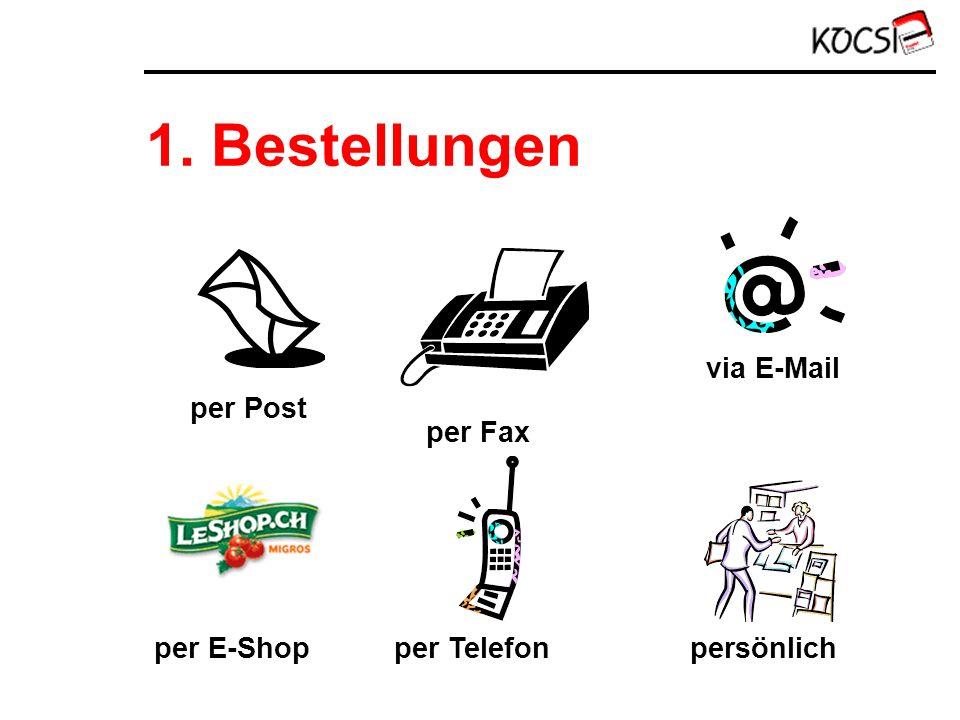 1. Bestellungen per Post per Fax via E-Mail persönlich per Telefon per E-Shop