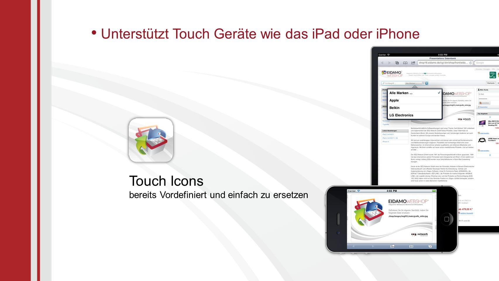 Unterstützt Touch Geräte wie das iPad oder iPhone Touch Icons bereits Vordefiniert und einfach zu ersetzen
