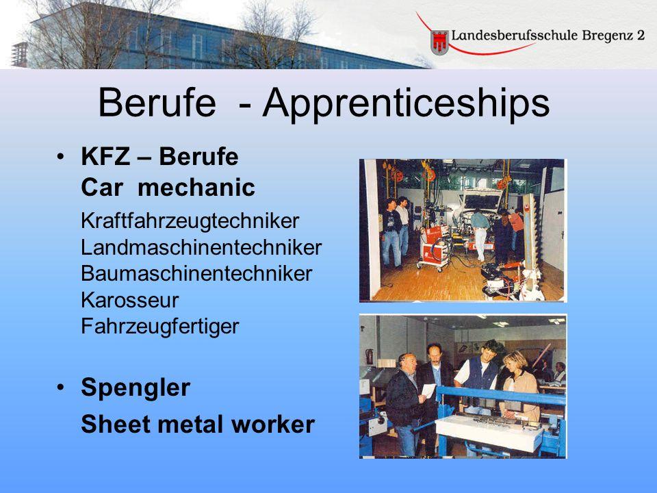 Berufe - Apprenticeships KFZ – Berufe Car mechanic Kraftfahrzeugtechniker Landmaschinentechniker Baumaschinentechniker Karosseur Fahrzeugfertiger Spen