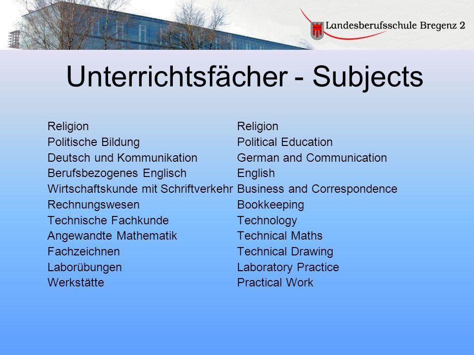 Unterrichtsfächer - Subjects Religion Politische BildungPolitical Education Deutsch und KommunikationGerman and Communication Berufsbezogenes Englisch
