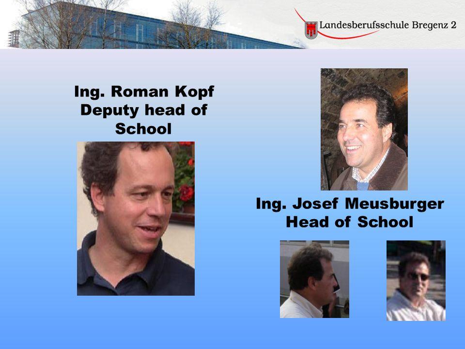 Ing. Roman Kopf Deputy head of School Ing. Josef Meusburger Head of School