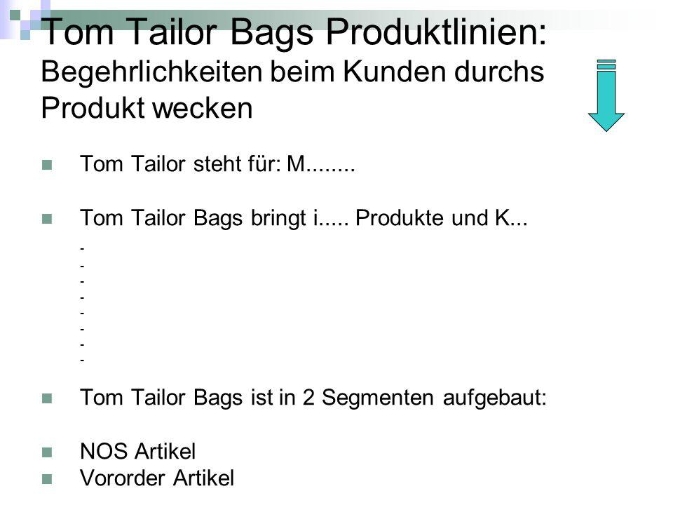 Tom Tailor Bags Produktlinien: Begehrlichkeiten beim Kunden durchs Produkt wecken Tom Tailor steht für: M........ Tom Tailor Bags bringt i..... Produk