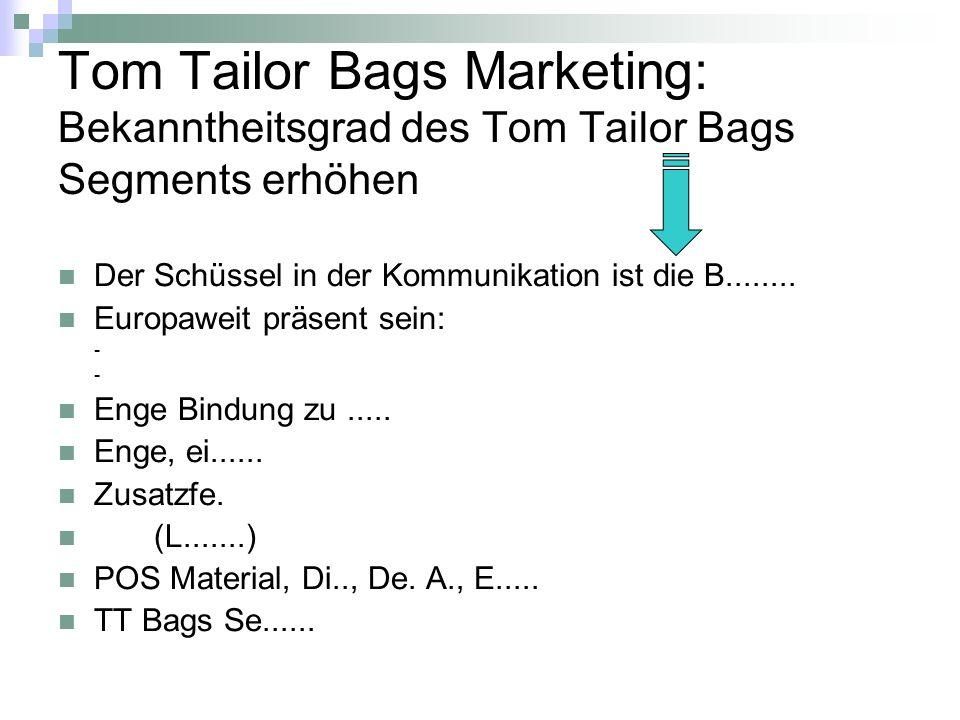 Tom Tailor Bags Marketing: Bekanntheitsgrad des Tom Tailor Bags Segments erhöhen Der Schüssel in der Kommunikation ist die B........ Europaweit präsen