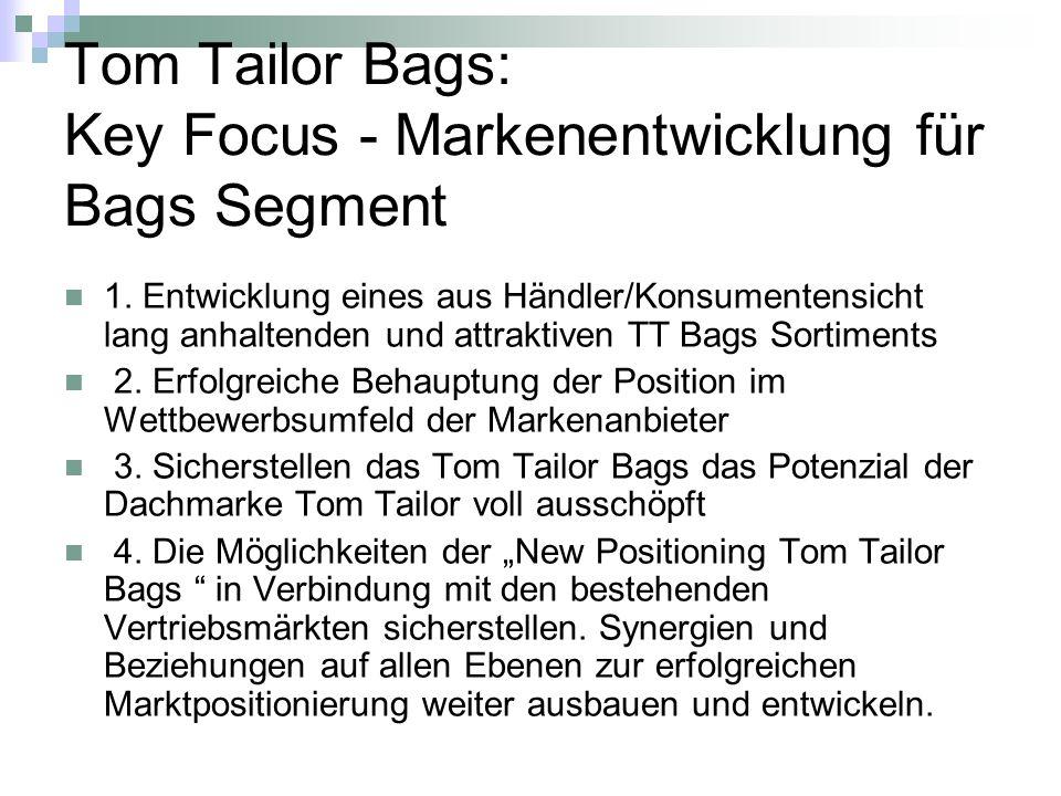Tom Tailor Bags: Key Focus - Markenentwicklung für Bags Segment 1. Entwicklung eines aus Händler/Konsumentensicht lang anhaltenden und attraktiven TT
