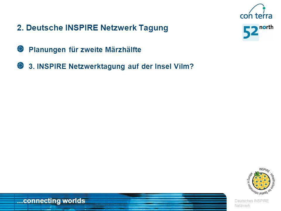 ...connecting worlds Deutsches INSPIRE Netzwerk 2. Deutsche INSPIRE Netzwerk Tagung Planungen für zweite Märzhälfte 3. INSPIRE Netzwerktagung auf der