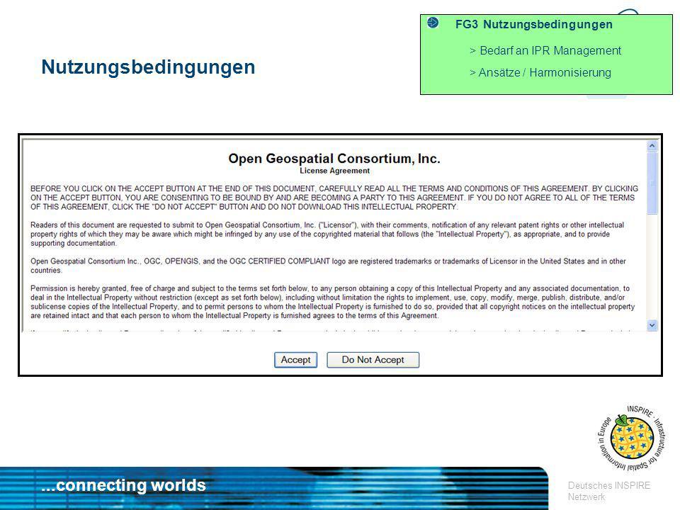 ...connecting worlds Deutsches INSPIRE Netzwerk FG3 Nutzungsbedingungen > Bedarf an IPR Management > Ansätze / Harmonisierung Nutzungsbedingungen