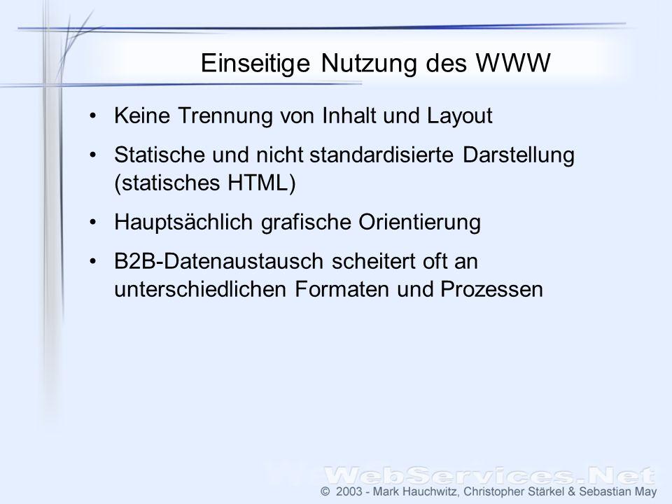 Einseitige Nutzung des WWW Keine Trennung von Inhalt und Layout Statische und nicht standardisierte Darstellung (statisches HTML) Hauptsächlich grafische Orientierung B2B-Datenaustausch scheitert oft an unterschiedlichen Formaten und Prozessen
