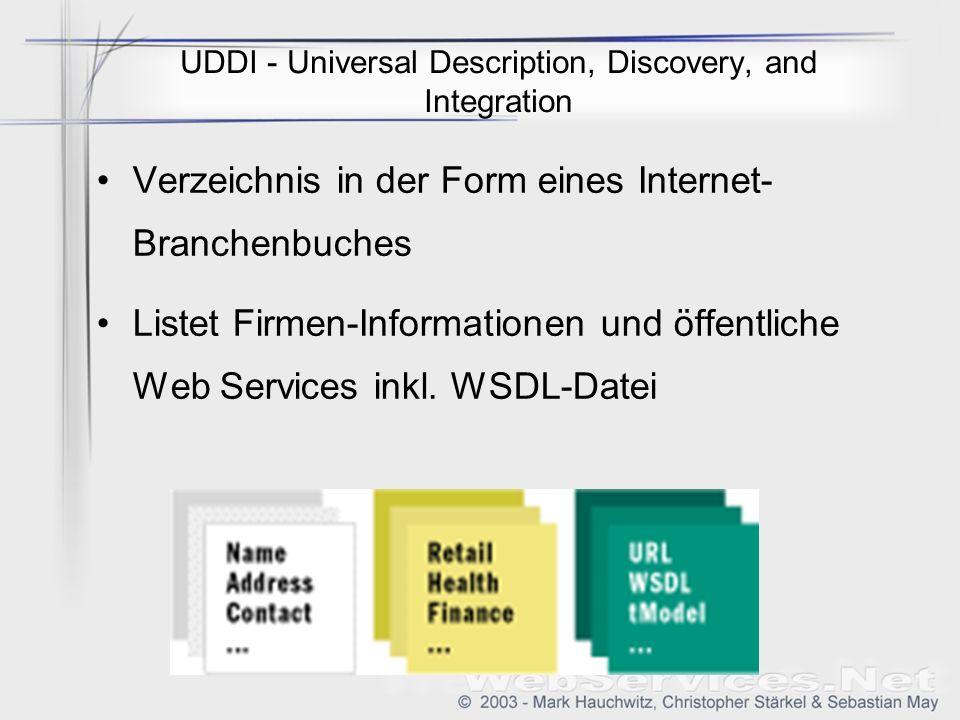 UDDI - Universal Description, Discovery, and Integration Verzeichnis in der Form eines Internet- Branchenbuches Listet Firmen-Informationen und öffentliche Web Services inkl.