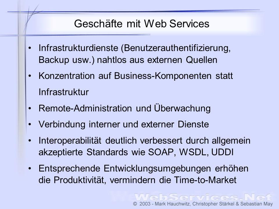 Geschäfte mit Web Services Infrastrukturdienste (Benutzerauthentifizierung, Backup usw.) nahtlos aus externen Quellen Konzentration auf Business-Kompo