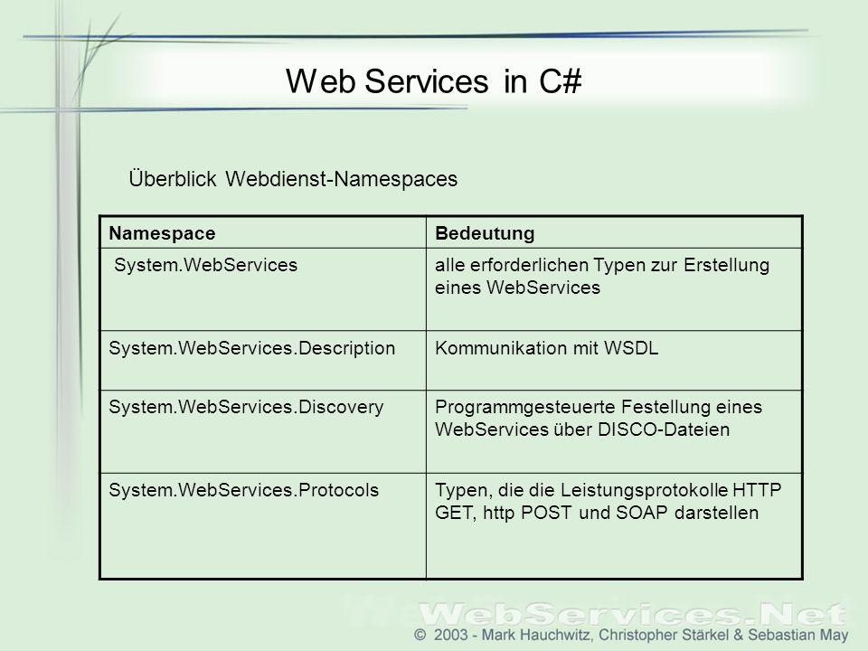 Web Services in C# NamespaceBedeutung System.WebServicesalle erforderlichen Typen zur Erstellung eines WebServices System.WebServices.DescriptionKommunikation mit WSDL System.WebServices.DiscoveryProgrammgesteuerte Festellung eines WebServices über DISCO-Dateien System.WebServices.ProtocolsTypen, die die Leistungsprotokolle HTTP GET, http POST und SOAP darstellen Überblick Webdienst-Namespaces
