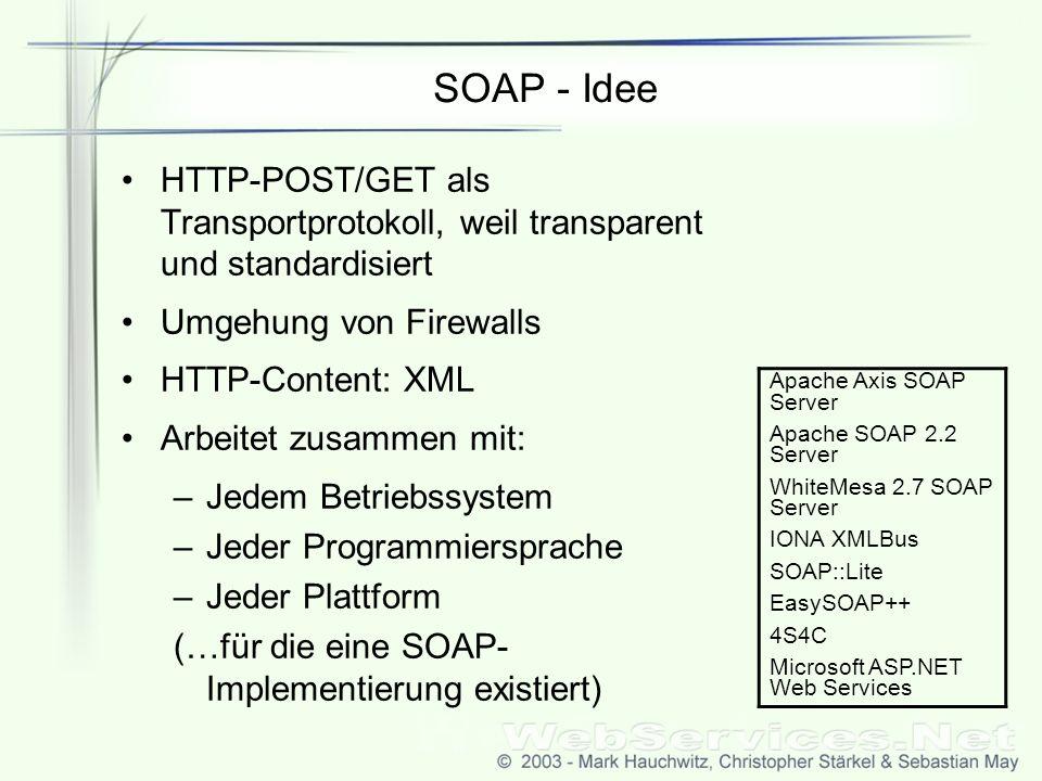 SOAP - Idee HTTP-POST/GET als Transportprotokoll, weil transparent und standardisiert Umgehung von Firewalls HTTP-Content: XML Arbeitet zusammen mit: –Jedem Betriebssystem –Jeder Programmiersprache –Jeder Plattform (…für die eine SOAP- Implementierung existiert) Apache Axis SOAP Server Apache SOAP 2.2 Server WhiteMesa 2.7 SOAP Server IONA XMLBus SOAP::Lite EasySOAP++ 4S4C Microsoft ASP.NET Web Services