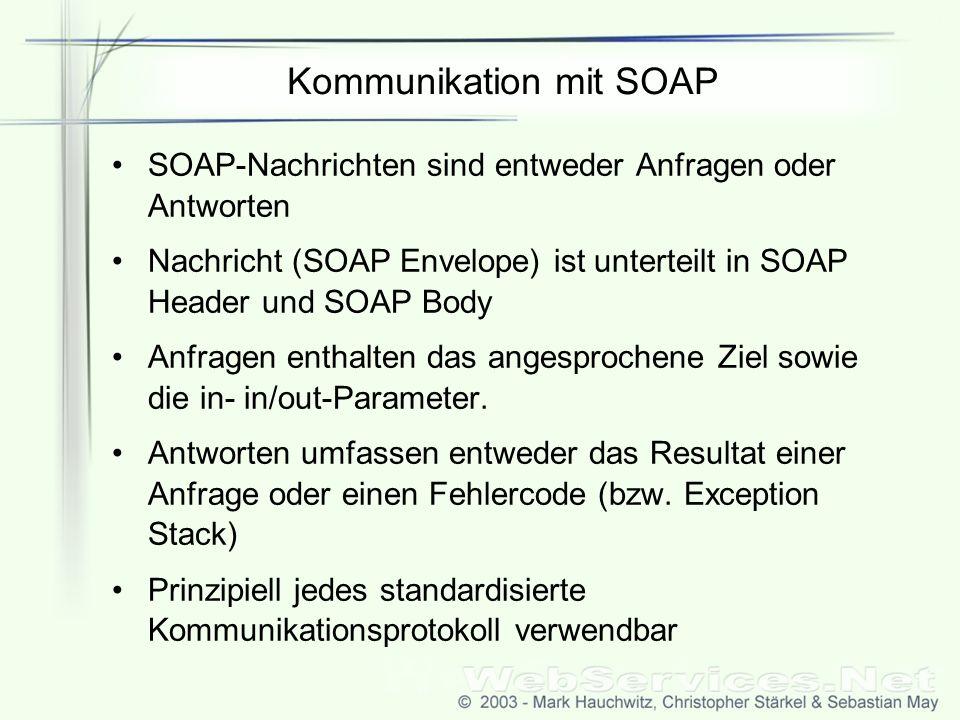 Kommunikation mit SOAP SOAP-Nachrichten sind entweder Anfragen oder Antworten Nachricht (SOAP Envelope) ist unterteilt in SOAP Header und SOAP Body Anfragen enthalten das angesprochene Ziel sowie die in- in/out-Parameter.