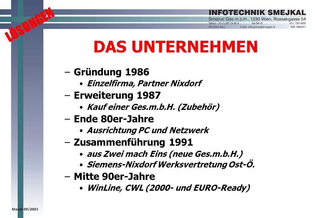 LÖSUNGEN Stand: 09/2003 DAS UNTERNEHMEN –Gründung 1986 Einzelfirma, Partner Nixdorf –Erweiterung 1987 Kauf einer Ges.m.b.H. (Zubehör) –Ende 80er-Jahre