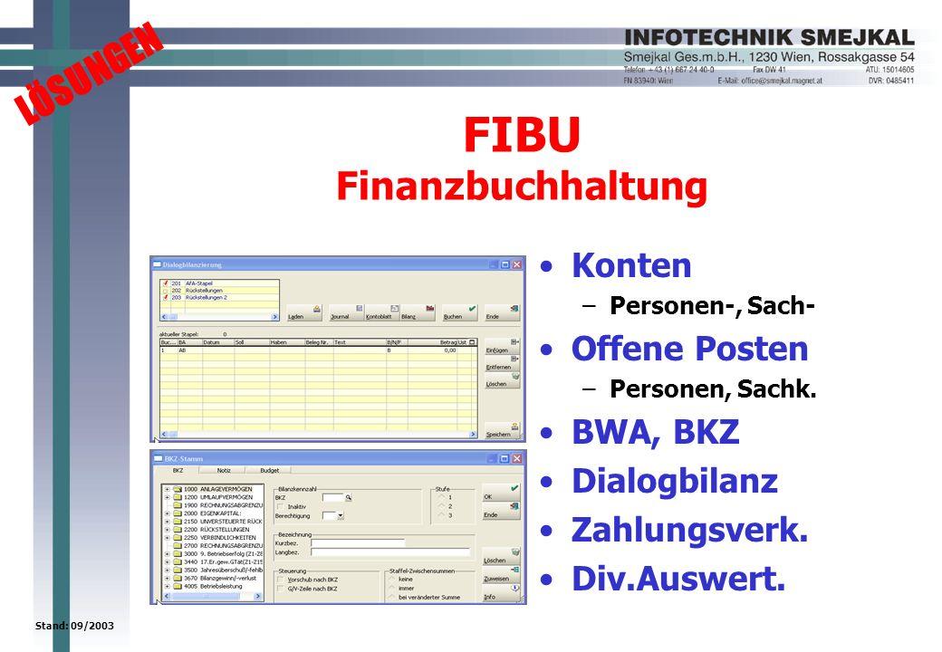 LÖSUNGEN Stand: 09/2003 FIBU Finanzbuchhaltung Konten –Personen-, Sach- Offene Posten –Personen, Sachk. BWA, BKZ Dialogbilanz Zahlungsverk. Div.Auswer