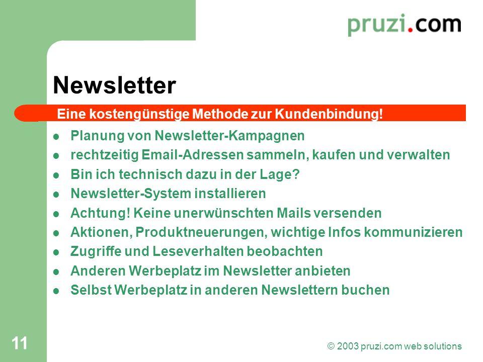 © 2003 pruzi.com web solutions 11 Newsletter Planung von Newsletter-Kampagnen rechtzeitig Email-Adressen sammeln, kaufen und verwalten Bin ich technis