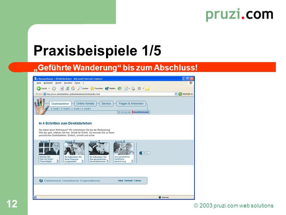 © 2003 pruzi.com web solutions 12 Praxisbeispiele 1/5 Geführte Wanderung bis zum Abschluss!