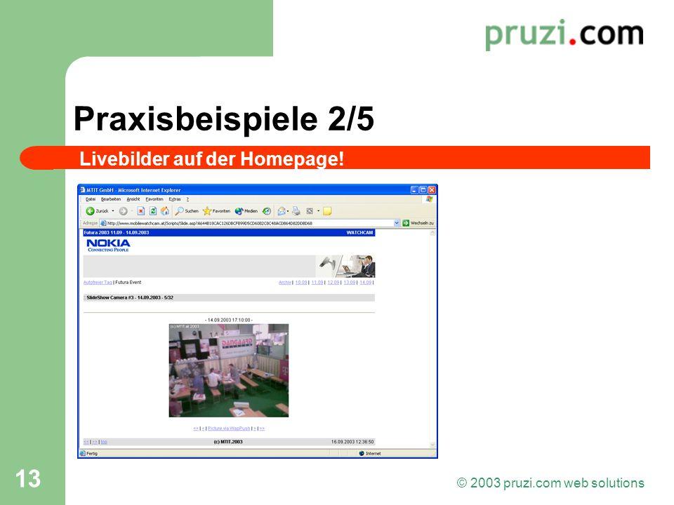 © 2003 pruzi.com web solutions 13 Praxisbeispiele 2/5 Livebilder auf der Homepage!