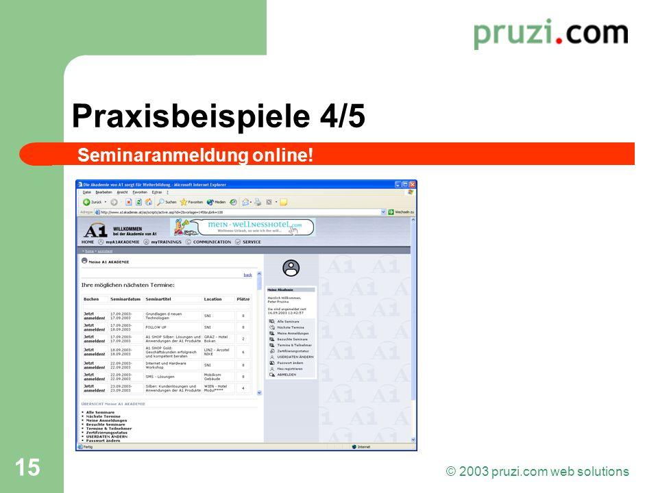 © 2003 pruzi.com web solutions 15 Praxisbeispiele 4/5 Seminaranmeldung online!