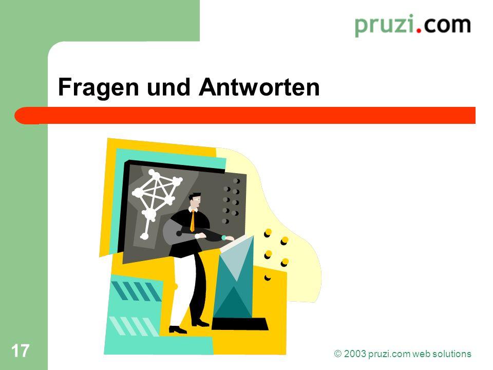 © 2003 pruzi.com web solutions 17 Fragen und Antworten