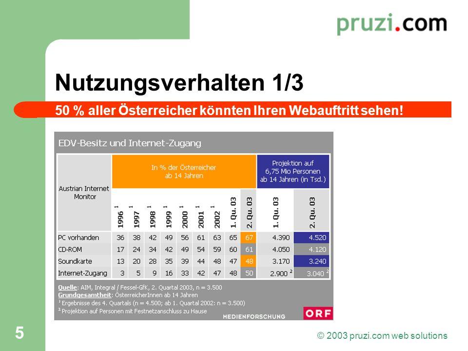 © 2003 pruzi.com web solutions 5 Nutzungsverhalten 1/3 50 % aller Österreicher könnten Ihren Webauftritt sehen!
