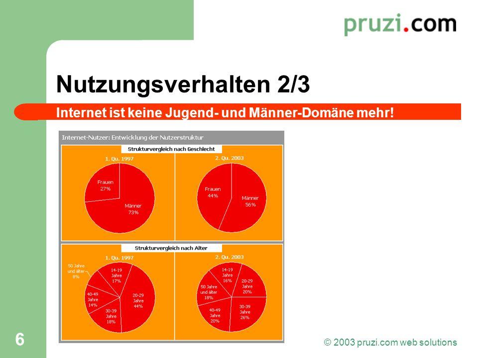 © 2003 pruzi.com web solutions 6 Nutzungsverhalten 2/3 Internet ist keine Jugend- und Männer-Domäne mehr!