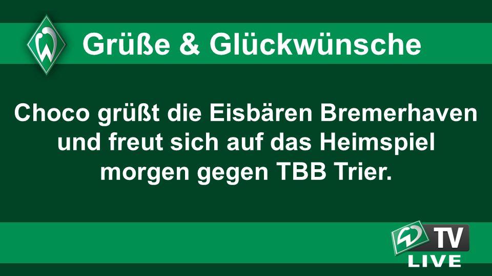 Choco grüßt die Eisbären Bremerhaven und freut sich auf das Heimspiel morgen gegen TBB Trier.