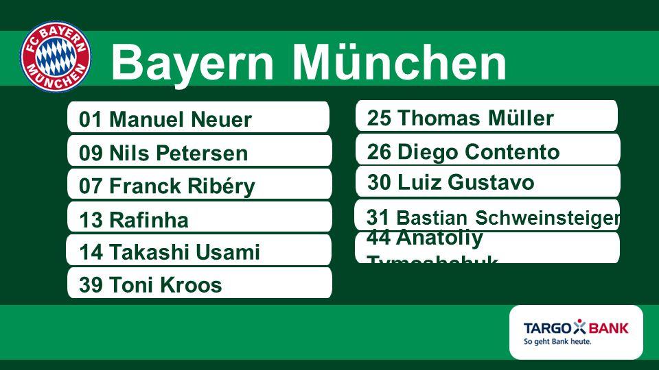 01 Manuel Neuer 09 Nils Petersen 07 Franck Ribéry 13 Rafinha 39 Toni Kroos 14 Takashi Usami 25 Thomas Müller 26 Diego Contento 30 Luiz Gustavo 31 Bast