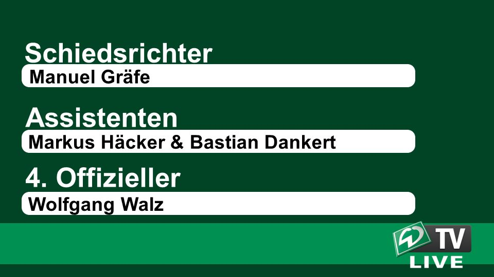 Schiedsrichter Assistenten Manuel Gräfe Markus Häcker & Bastian Dankert 4. Offizieller Wolfgang Walz