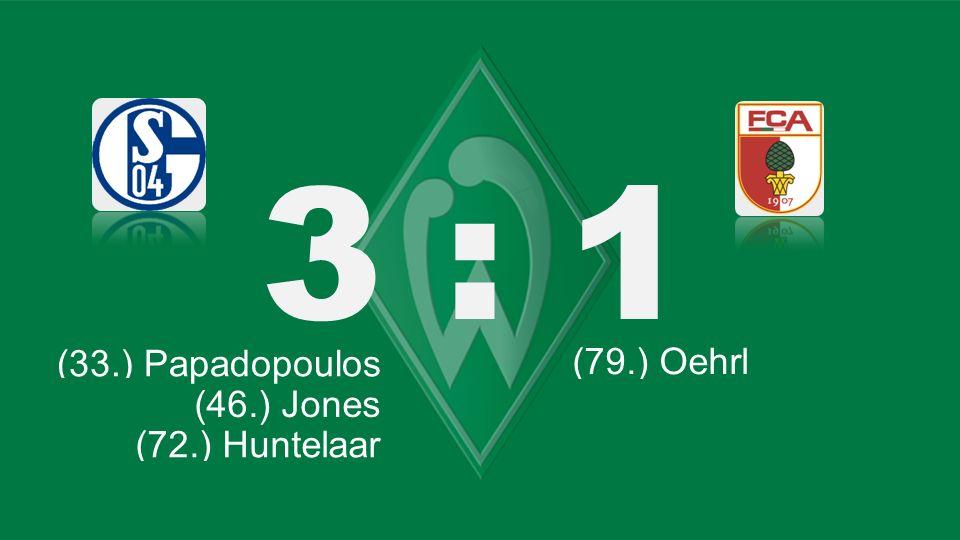 Bochum – KSC 3 : 1 (33.) Papadopoulos (66.) Lewandowski (79.) Oehrl (77.) Schürrle (71.) Tosic (46.) Jones (72.) Huntelaar (77.) Schürrle