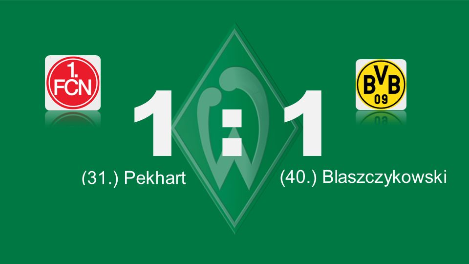 Bochum – KSC 1 : 1 (31.) Pekhart (66.) Lewandowski (40.) Blaszczykowski (87.) Robben (71.) Tosic (45.) Kagawa (61.) Bender (45. + 1) Petric