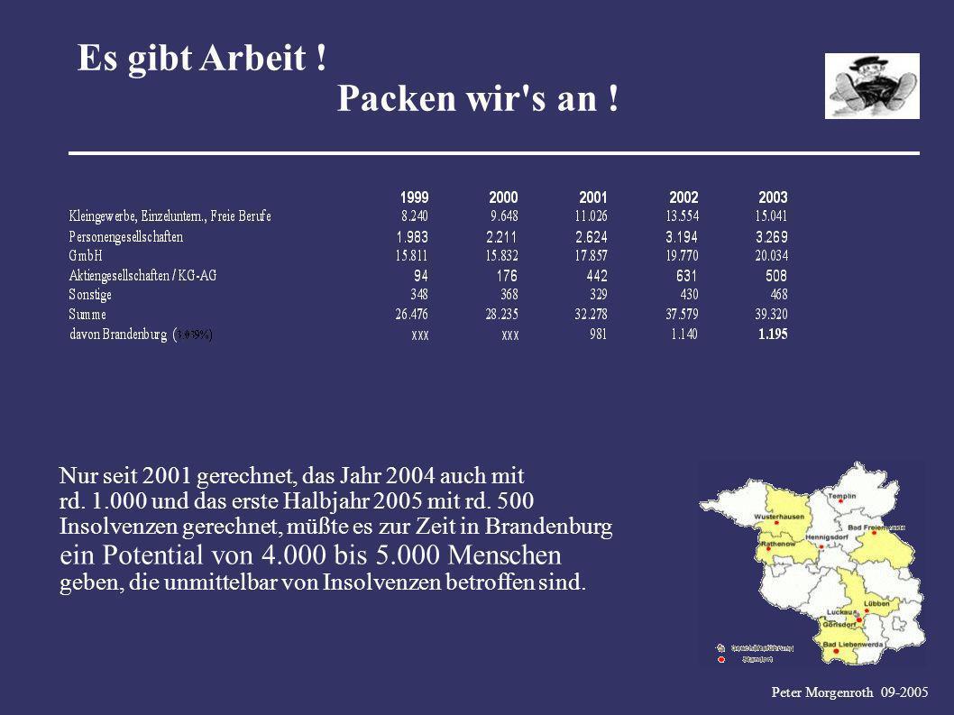 Peter Morgenroth 09-2005 Es gibt Arbeit ! Packen wir's an ! Nur seit 2001 gerechnet, das Jahr 2004 auch mit rd. 1.000 und das erste Halbjahr 2005 mit