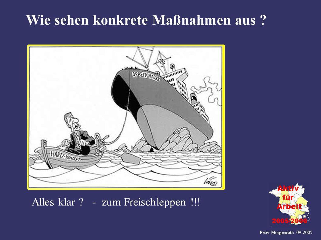 Peter Morgenroth 09-2005 Wie sehen konkrete Maßnahmen aus ? Alles klar ? - zum Freischleppen !!!
