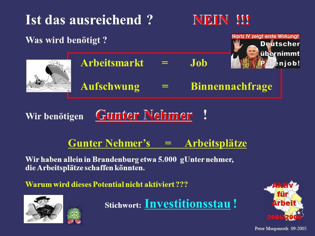 Peter Morgenroth 09-2005 Ist das ausreichend ? NEIN !!! Was wird benötigt ? Arbeitsmarkt = Job Aufschwung = Binnennachfrage Wir benötigen Gunter Nehme