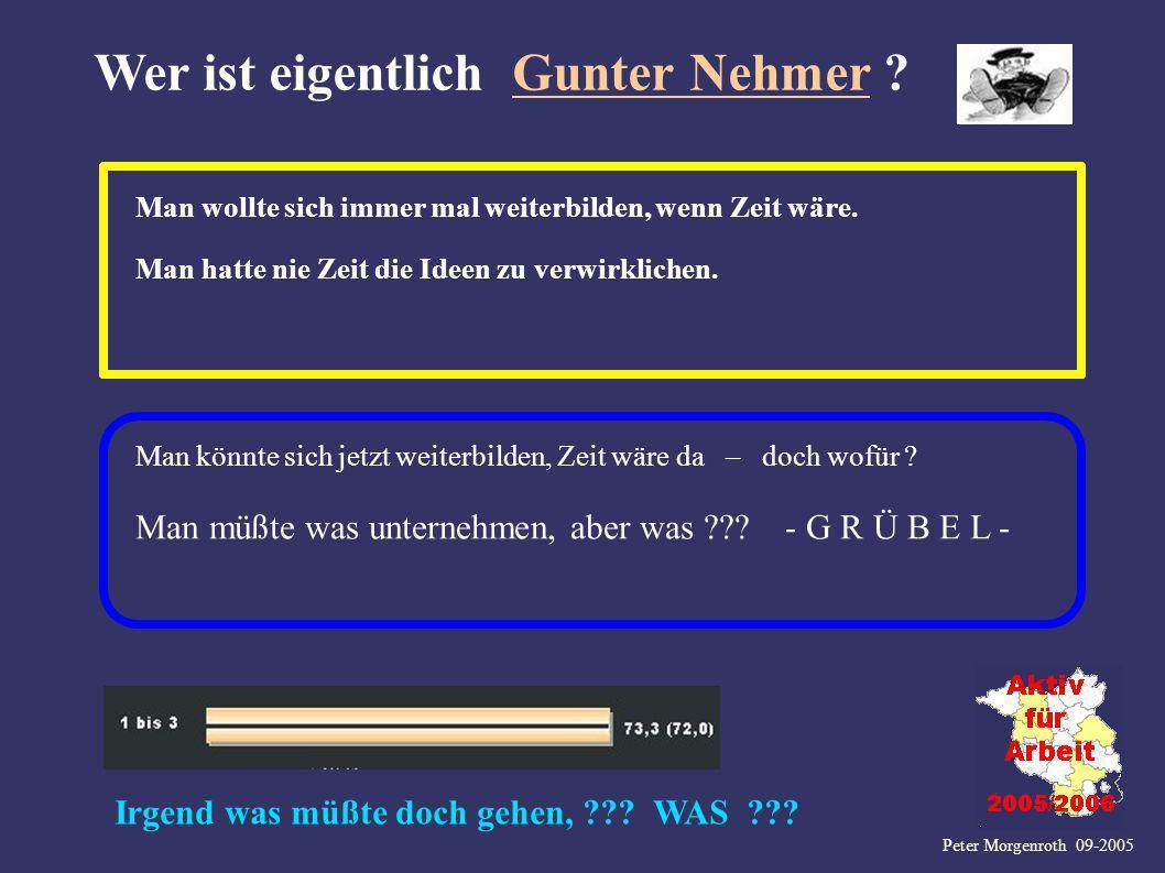 Peter Morgenroth 09-2005 Wer ist eigentlich Gunter Nehmer ? Man wollte sich immer mal weiterbilden, wenn Zeit wäre. Man hatte nie Zeit die Ideen zu ve