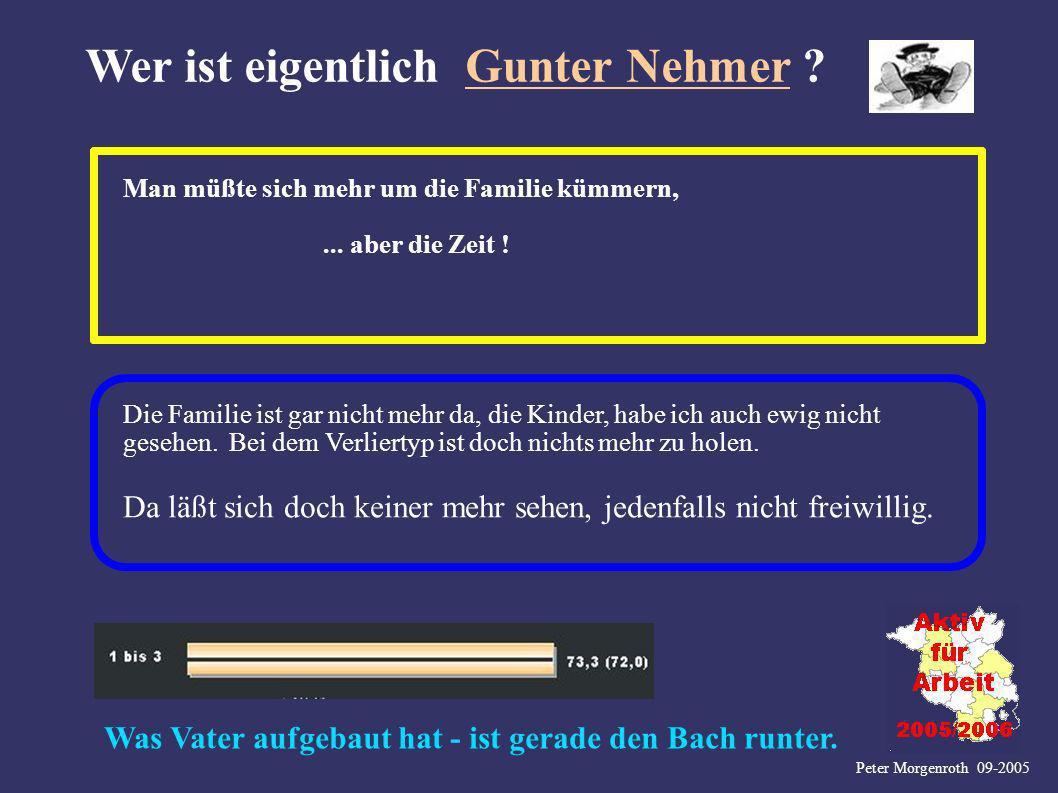 Peter Morgenroth 09-2005 Wer ist eigentlich Gunter Nehmer ? Man müßte sich mehr um die Familie kümmern,... aber die Zeit ! Die Familie ist gar nicht m